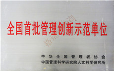 Listed as First Batch of China Management Innovation Model Organization by Industry Association and Institute